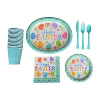 Happy EasterパーティーSuppliesパックデラックスfor 16Guests Including Largeイースタープレート、デザートプレート、ナプキン、カップ&カトラリー