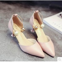 Word buckle pointed nude color with a single shoe 6CM hollow foot ring pearl high heels