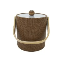Mr. Ice Bucket 3-Quart Faux Wicker Ice Bucket, Beechwood [並行輸入品]