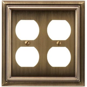 Amerelle 94DDBB Continental Cast Metal Wallplate with 2 Duplex Outlet, Brushed Brass [並行輸入品]