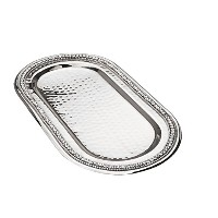 Classic Touch SDT190 Hammered Stainless Steel Oval Tray, Trimmed with Exquisite Diamonds, 11-Inch ...