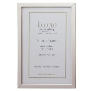 Eccolo Simple Narrow Border Silver Plated Frame, 4 by 6-Inch [並行輸入品]