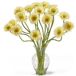 Nearly Natural 1086-CR Gerber Daisy Liquid Illusion Silk Flower Arrangement, Cream by Nearly Natural [並行輸入品]