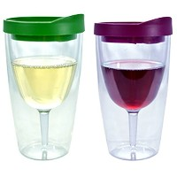 Southern Homewares Insulated Vino Double Wall Acrylic with Merlot and Verde Drink Through Lid Wine...