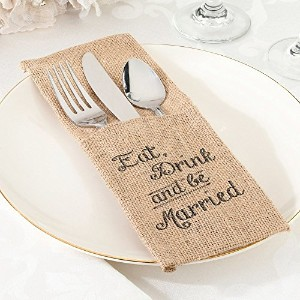 Lillian Rose Eat, Drink and Be Married Burlap Silverware Holders, 4-Inch by 10-Inch, Set of 4 ...