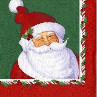 Entertaining with Caspari Cocktail Napkins, Mr. Claus, Green, 20-Pack [並行輸入品]