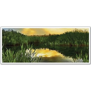 JP London PAN5215 uStrip Sunset Calm Pond Reeds Nature High Resolution Peel Stick Removable Wallpaper Sticker Mural, 48' Wide by 19.75' High [並行輸入品]