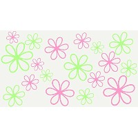 Wall Decor Plus More WDPM107 Key Lime Green and Soft Pink Daisy Flower Wall Stickers 16Pc 2-Colors...