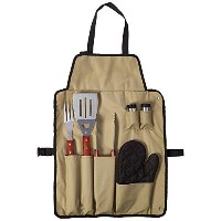 Chefs Kitchen 82-4308 7-Piece Outdoor BBQ Apron and Utensil Set [並行輸入品]