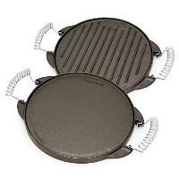 Victoria Reversible Cast Iron Round Griddle with Removable Cool-Touch Handles, 10 inch [並行輸入品]