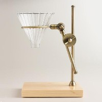 Brass Pour Over Drip Coffee Maker Dripper Stand with Wood Base [並行輸入品]