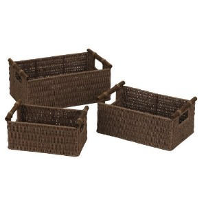 Household Essentials Hand-Woven Paper Rope Baskets with Wood Handles, Dark Brown Stain, Set of 3 ...