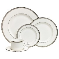 Lenox Murray Hill Platinum-Banded Bone China 5-Piece Place Setting, Service for 1 [並行輸入品]