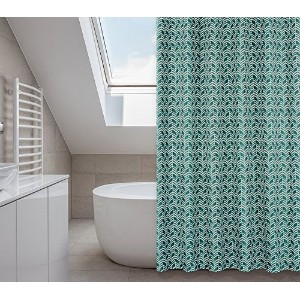 Metro Chevron Shower Curtain Set (14 pieces) in Turquoises and dark Greens [並行輸入品]