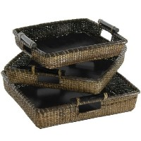 Oriental Furniture Rattan Square Tote with Pole Handles ( Set of 3 ) [並行輸入品]