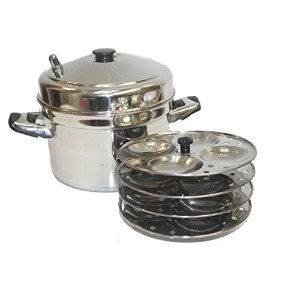 Tabakh IC-204 4-Rack Stainless Steel Idli Cooker with Strong Handles, Makes 16 Idlis [並行輸入品]