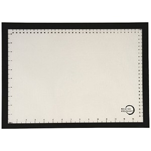 Mercer Culinary M31093BK Silicone Bake Mat with Black Border, Half Size, 11 7/8' by 16 1/2', Black ...