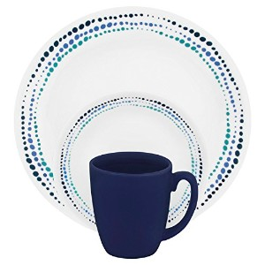 Corelle Livingware 16-Piece Dinnerware Set, Ocean Blues, Service for 4 [並行輸入品]
