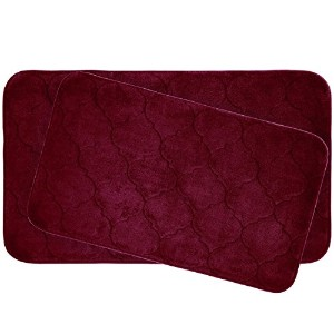 Bounce Comfort Faymore 2 Piece Memory Foam Bath Mat Set, 20 by 34', Barn Red [並行輸入品]