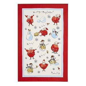 Ulster Weavers Madeleine Floyd Santa and Snowmen Linen Tea Towel [並行輸入品]