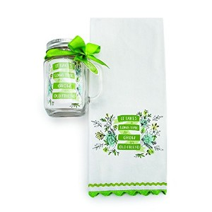 DEMDACO It Takes Time Tea Towel and Mason Jar Set, Multicolor [並行輸入品]