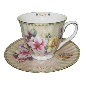 Gracie China by Coastline Imports Tea Cup and Saucer with Gold Trim, Gift Boxed, Month of July, 8...