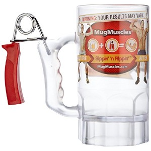 Mug Muscles Build Your Muscles Beer Mug with Hand Grip Exerciser Handle [並行輸入品]