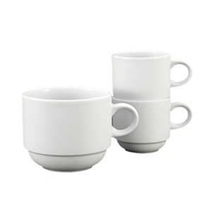 Fortessa Fortaluxe SuperWhite Vitrified China Cassia 3-Ounce Stackable Espresso Cup, Set of 6 ...