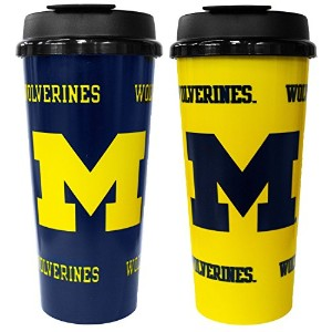GameDay Novelty NCAA Michigan Wolverines Insulated Travel Tumbler with No Spill Flip Lid, 16 oz, 2...