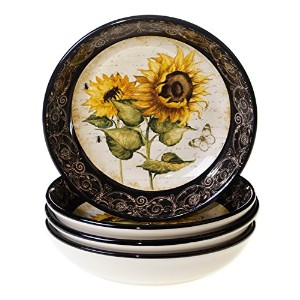 Certified International French Sunflowers Soup/Pasta Bowl, 9.25-Inch, Set of 4 [並行輸入品]