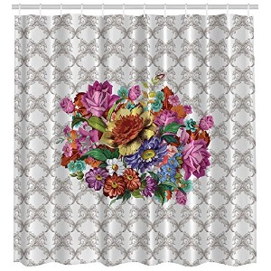 Ambesonne Vintage Flower Bouquet Washable Polyester Fabric Print Shower Curtain, Exclusive to...
