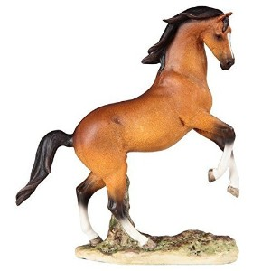StealStreet Leaping Brown and Black Mustang Horse Painted Collectible Figurine [並行輸入品]