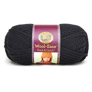 Lion Wool-Ease Thick and Quick 毛糸 超極太 ブラック 170g 約98m