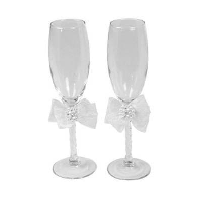 (White) - Delilah Pair of Glass Wedding Toasting Flutes, White