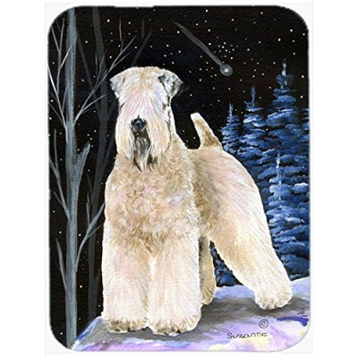 Carolines Treasures SS8364LCB Starry Night Wheaten Terrier Soft Coated Glass Cutting Board, Large