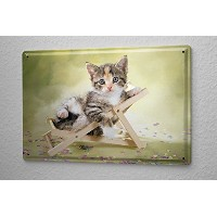 Tin Sign ブリキ看板 Cat Decoration Puppy kitten lounge chair Metal Plate