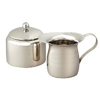 Elegance Stainless Steel Small Sugar Bowl and Creamer Set, Silver [並行輸入品]