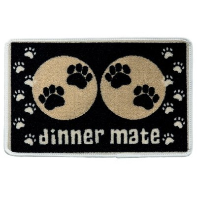 Black Paw Print Dog Food Mat