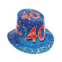 Happy 40 Birthday (Blue) Hi-Hat Party Accessory by Beistle