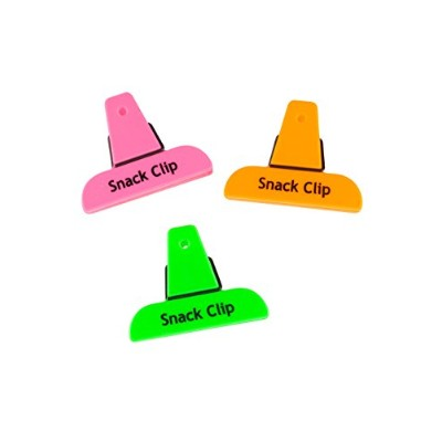 Good Living 3-Piece Set of Mini Neon Snack Bag Clips with Hanging Hole, (1 sets, 3 Clips in Total)...