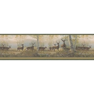Brewster 145B44341 Northwoods Lodge Running Green Deer Border Wallpaper [並行輸入品]