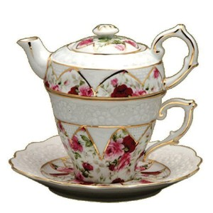 Graces茶道具レッドローズ4Piece Porcelain Tea for 1、Stackedティーポット