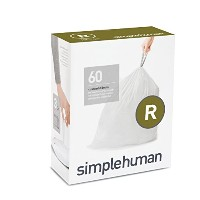 simplehuman code R custom fit liners, 3 refill packs (60 liners), Code R - 10L / 2.6 Gallon, White...