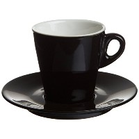 Tognana Mara 7-Ounce Tea Cup and Saucer Black, 6-Piece [並行輸入品]