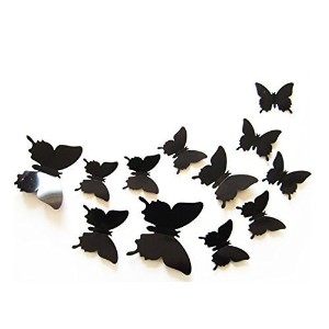 Elife 3D PVC Colorful Butterfly Home Decor Wall Sticker Decal Certain Curtain Decoration (Black; 24...
