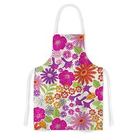 High Quality Jacqueline Milton Lula-Tropical Pink White Artistic Apron, 31 by 35.75, Multicolor