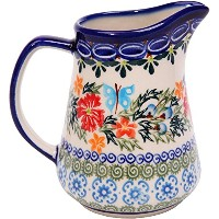High Quality, 0205/238, Pitcher Jacek 1, 1 Cup, Royal Blue Patterns with Red Cornflower and Blue...