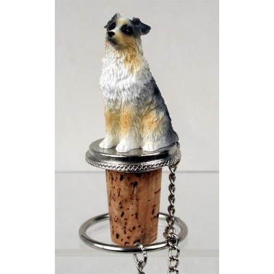 Australian Shepherd Blue Docked Wine Bottle Stopper - DTB99C