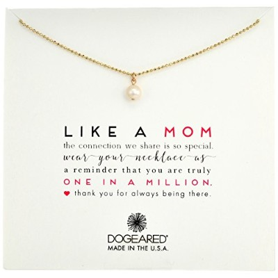 "[ドギャード]Dogeared Like A Mom Potato Pearl Sparkle Ball Chain Necklace Gold Dipped Chain Necklace, 18""..."