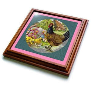 3drose TRV _ 14787 _ 1 Hen and Chicks Textured Trivet withセラミックタイル、8 by 8インチ、ブラウン